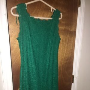 Adrianna Papell Emerald Green Lace Sheath Dress